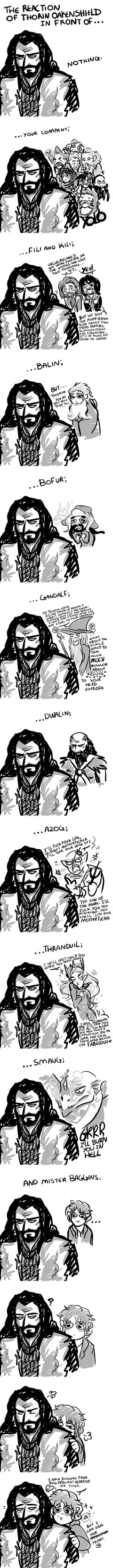 The Reaction of Thorin Oakenshield by Carszl