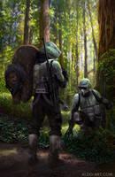 Ewok Hunt - Star Wars by AldoK