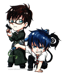 Sibling Feature: Yukio and Rin Okumura by Water-Diamond