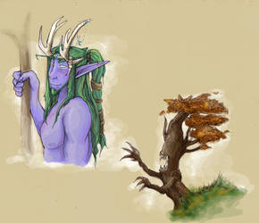 Young Naon and a Very Mad Tree by LostSlivers