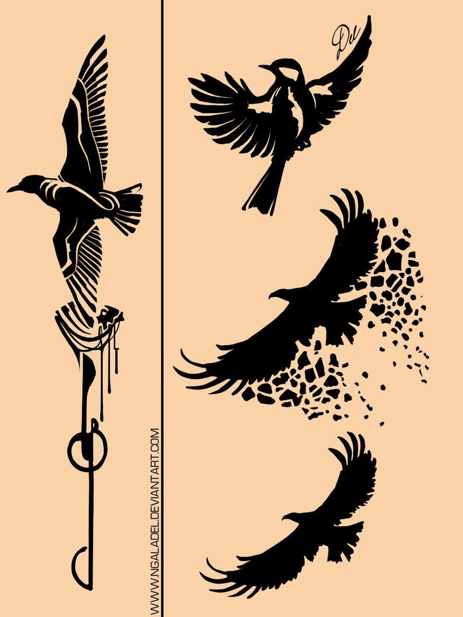 tattoo birds by ngaladel on deviantart. Black Bedroom Furniture Sets. Home Design Ideas