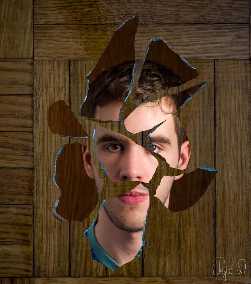 Broken-glass portrait by Elaol