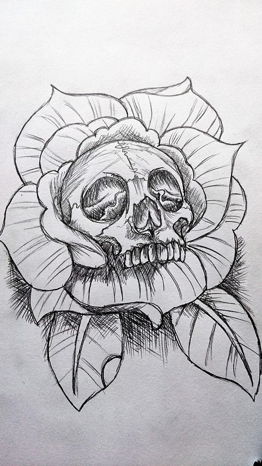 Coloring pages of roses and skulls