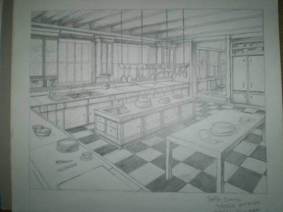 Homework Two Point Perspective: Kitchen by Twixz151 on ...