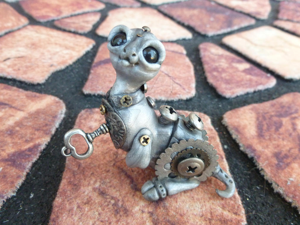 Key to your heart steampunk dragon pal sculpture by MysticReflections