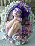 Lady D'Muertos framed sculpture
