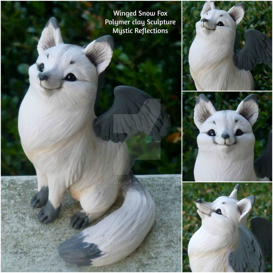 Winged Snow Fox Sculpture
