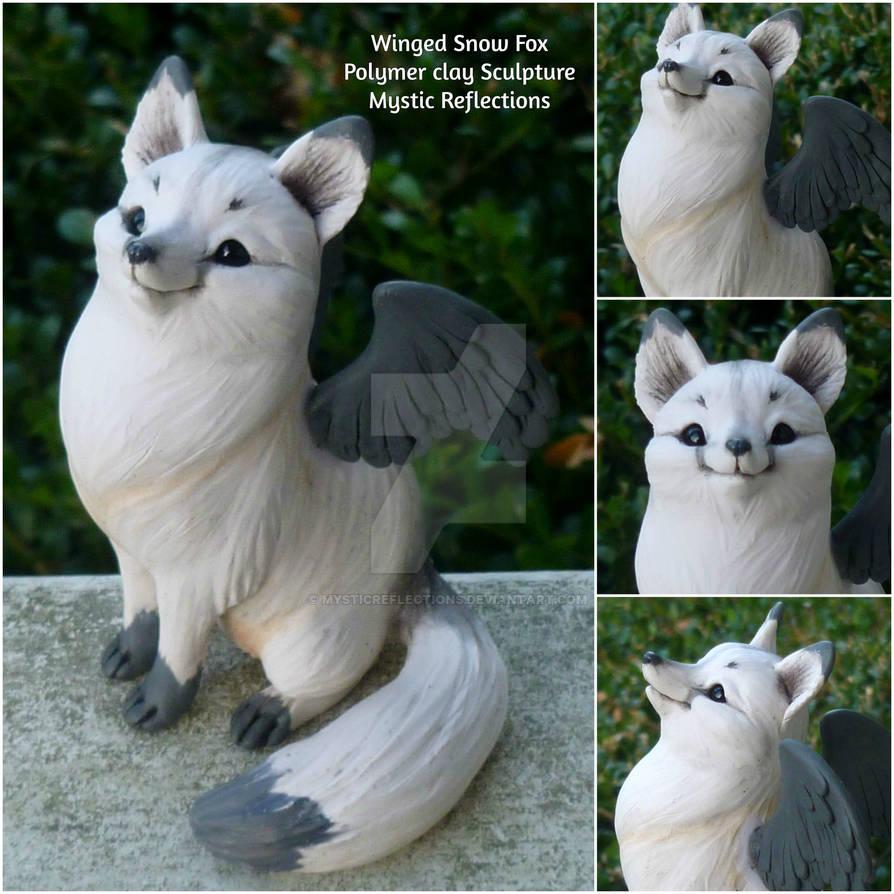 Winged Snow Fox Sculpture
