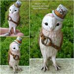 Dapper Steampunk Barn Owl