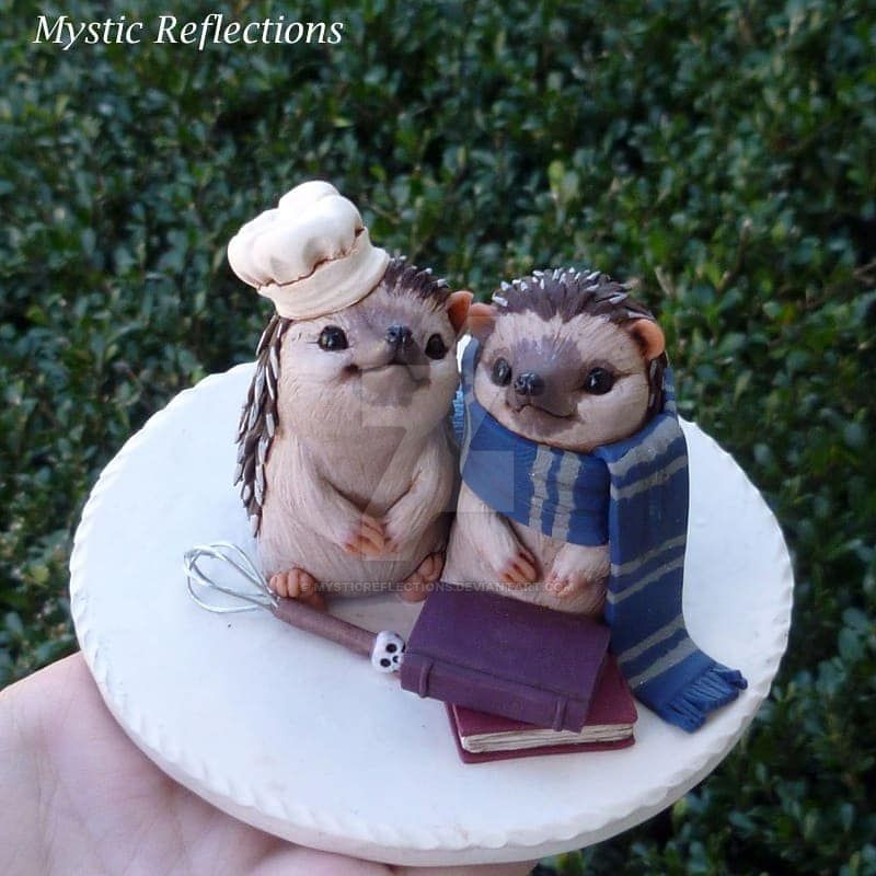Hedgehogs in Love Wedding Cake Topper. by MysticReflections
