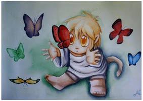 Playing with butterflies by HanHan