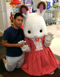Chocolate Rabbit Sister (Regular costume) and me 4 by yellowmocha