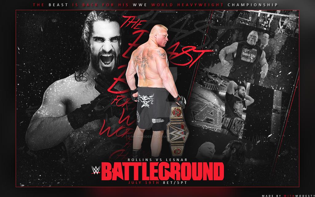 wwe battleground 2015 live results coverage seth rollins vs brock