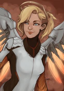 Overwatch - Mercy Colour WIP