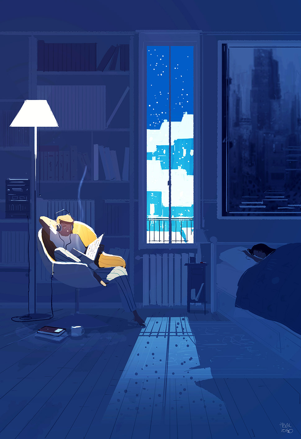 Midnight reading by pascalcampion on deviantart for Sleeping with window open in winter