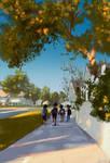 Walking to school.