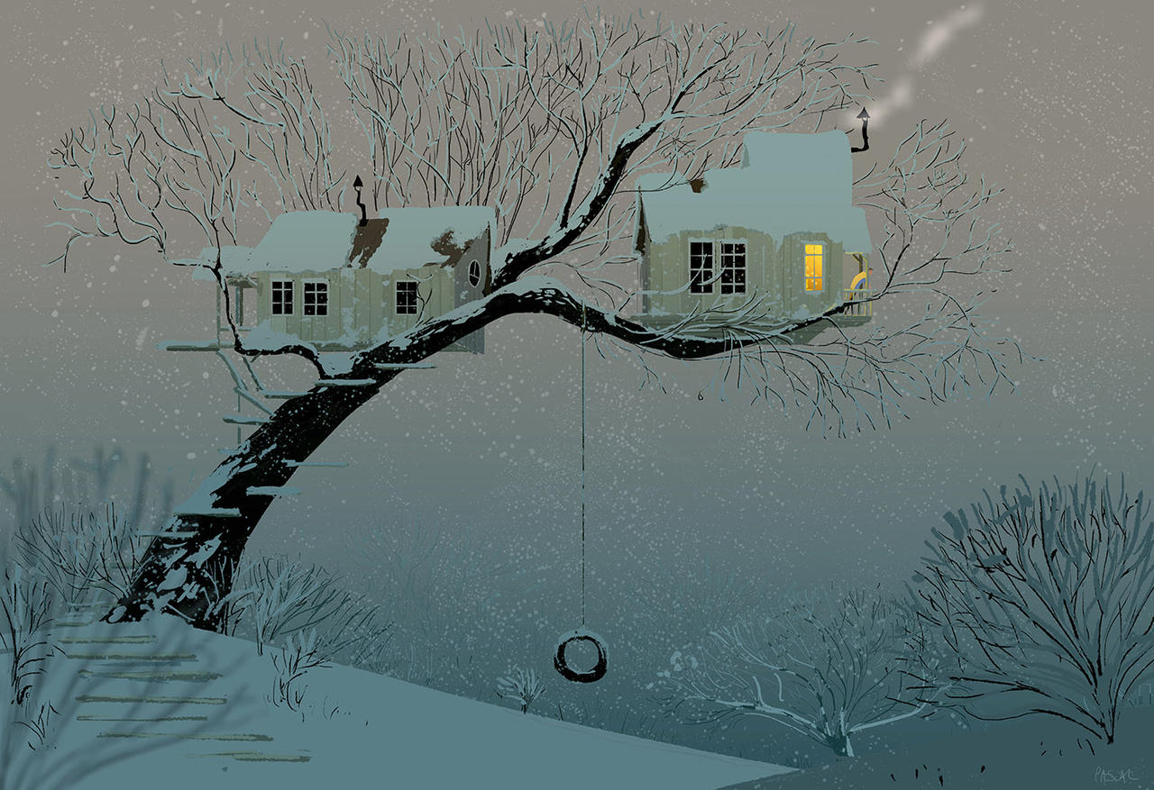 Snowy Tree House. by PascalCampion