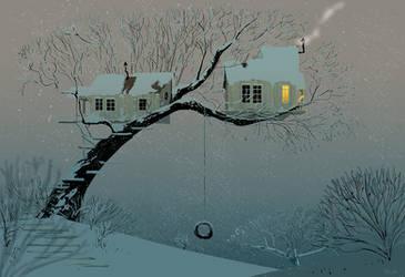 Snowy Tree House.