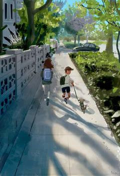 Walking to school this morning.