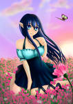Yuri - Fairy sitting in the flower field by SweetyBat