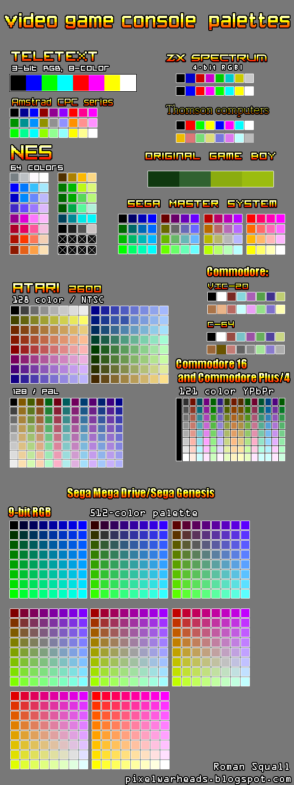 Gameboy color palettes -  Video Game Consoles Palettes By Roman Ss Squall
