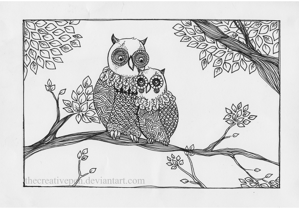 Cute owl love drawing - photo#12