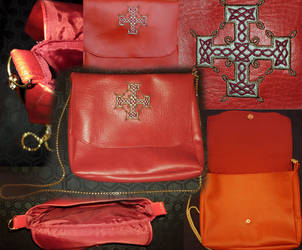 Red leatherette embroidered handbag by 3D-Fantasy-Art