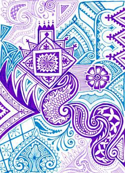 cyan and purple mehndi
