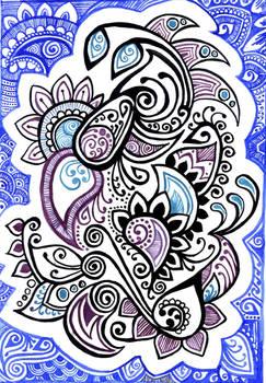 Doodle: ink + watercolor