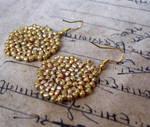 Golden beaded earrings by yael360