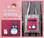 brown and blue totoro bag