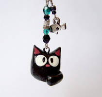 Choco cat cell phone charm by yael360