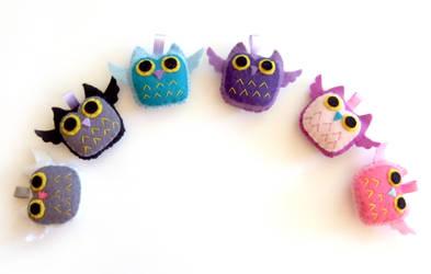 Rainbow Owl plushies by yael360