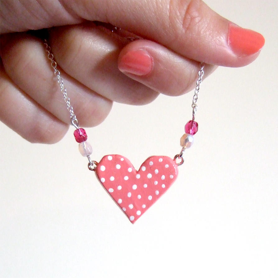 Polka dots pink clay heart necklace by yael360