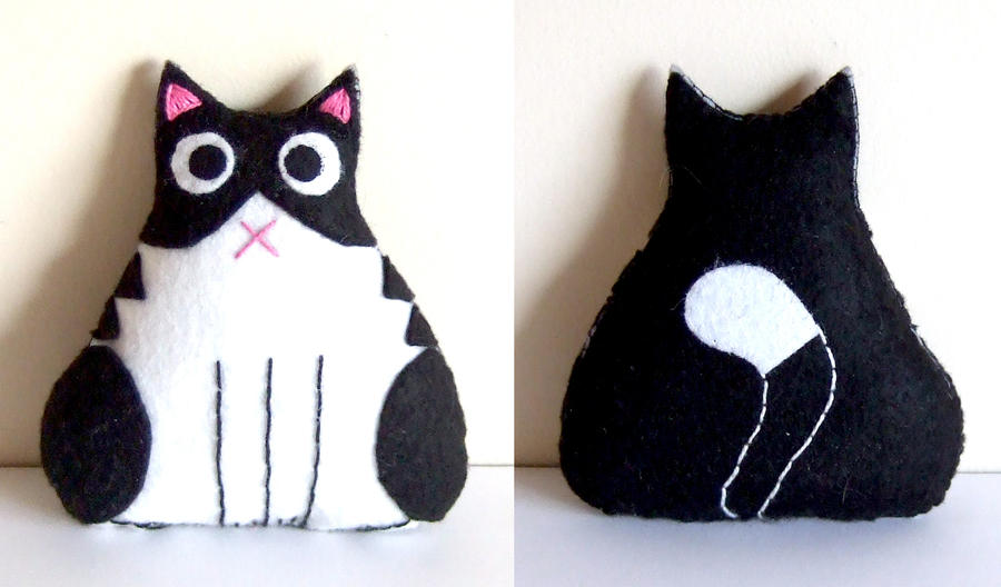 Black and white fat cat plushie by yael360