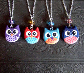 Owl charm necklaces from clay