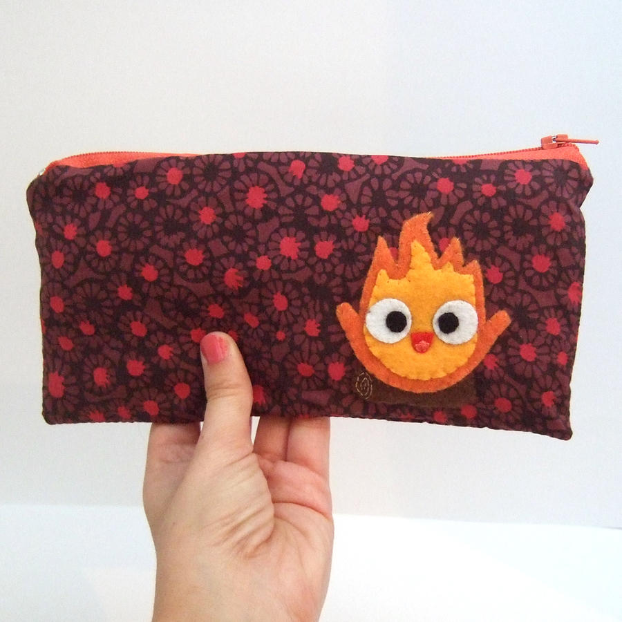Calsifer (fire demon) pouch - pencil case by yael360