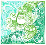 Swirls in green and blue