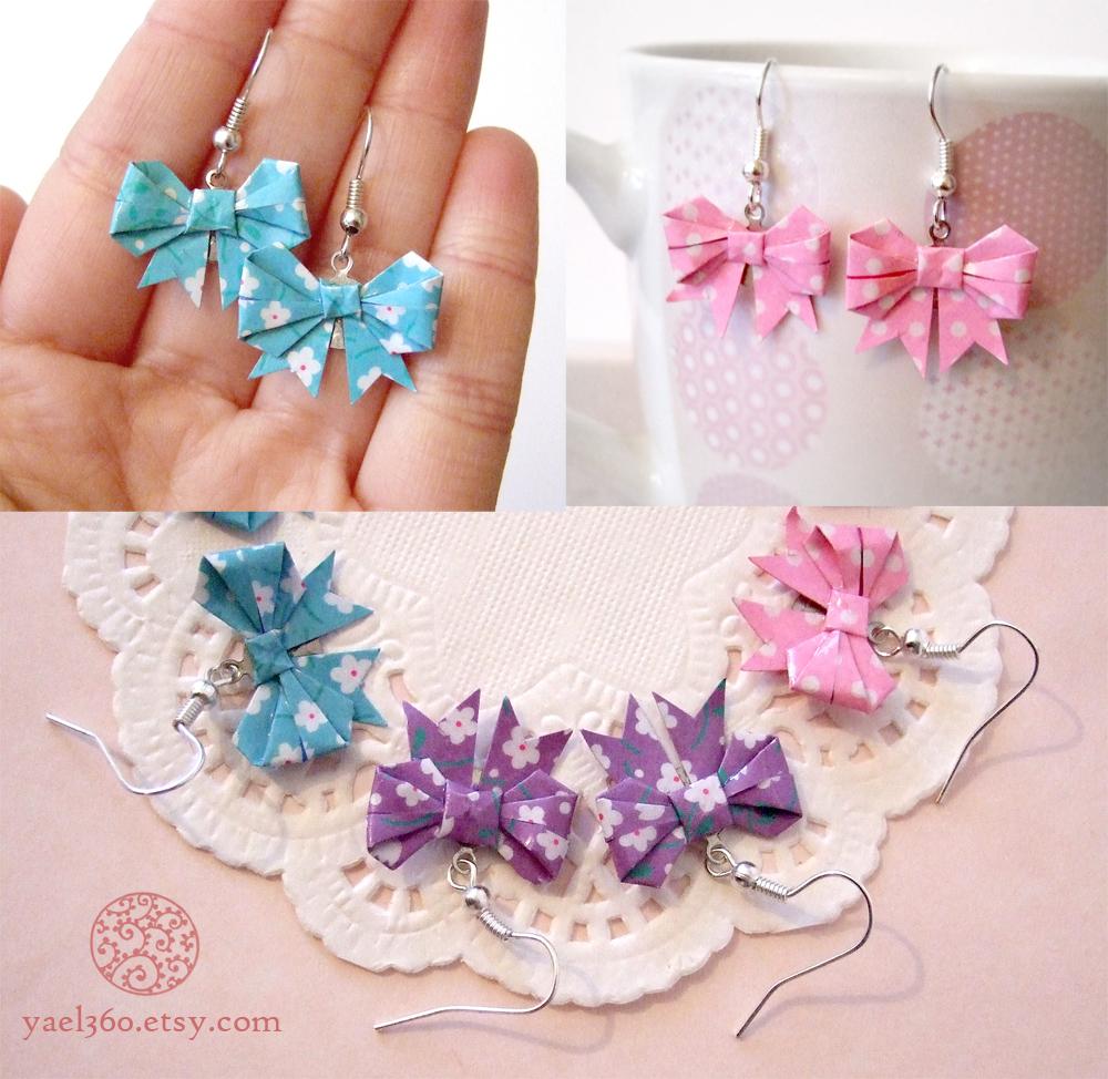 Triple origami threat ribbon earrings by yael360