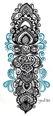 Black and blue abstract totem pole