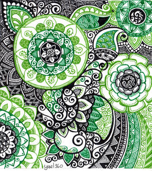 Complicated doodle in greens and black