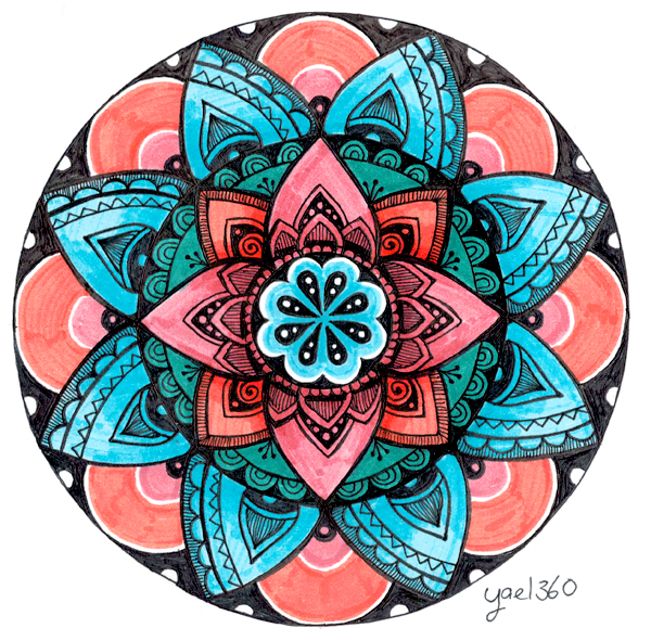 Wow mandala in red and light blue by yael360