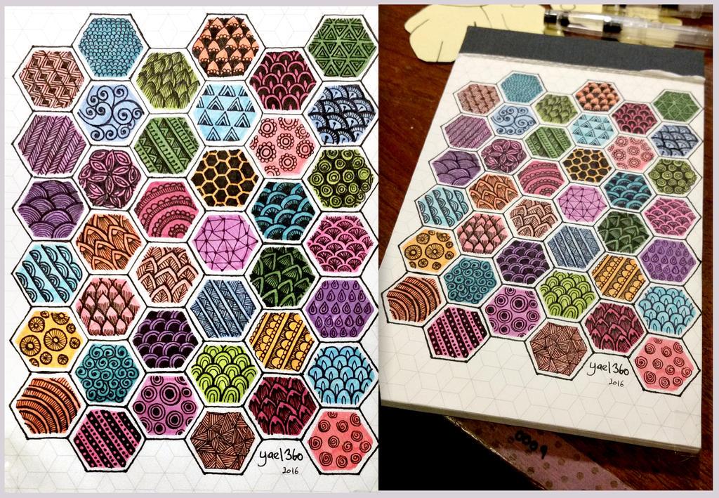 Zentangle tutorial pattern cheat sheet rainbow by yael360