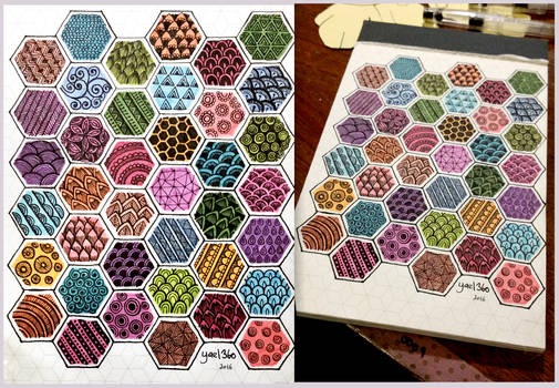 Zentangle tutorial pattern cheat sheet rainbow