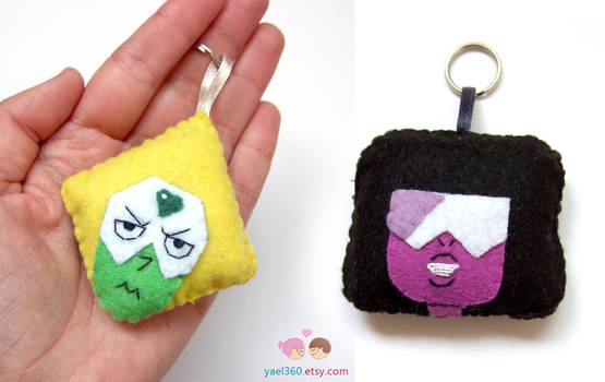 Garnet and Peridot keychains from Steven Universe