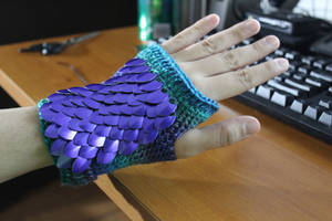 Misty Dragon Scalemail Fingerless Glove by BlakkFox