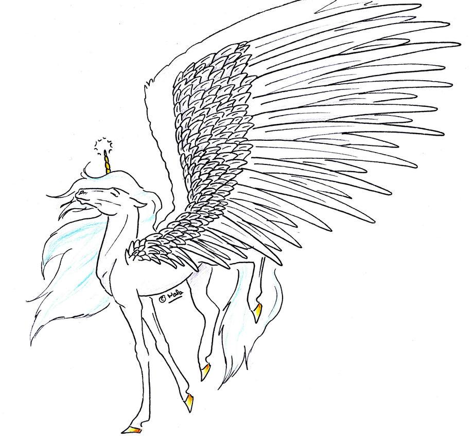 Shiraha licorne ail - Coloriage licorne ailee ...