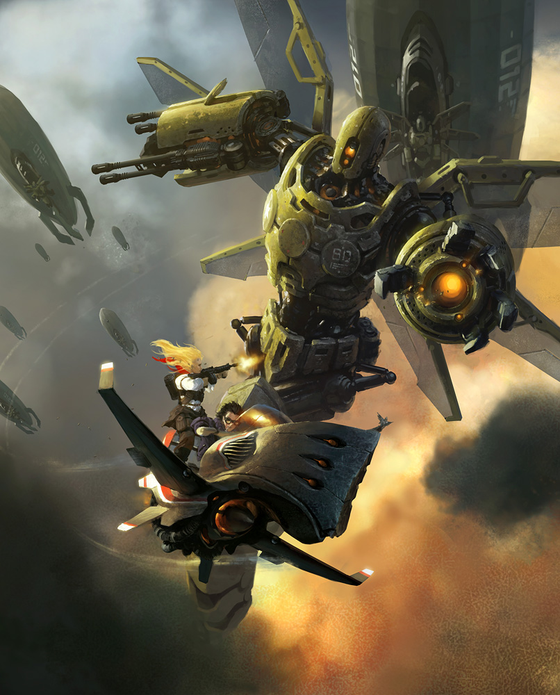 sky riders robots illustrations