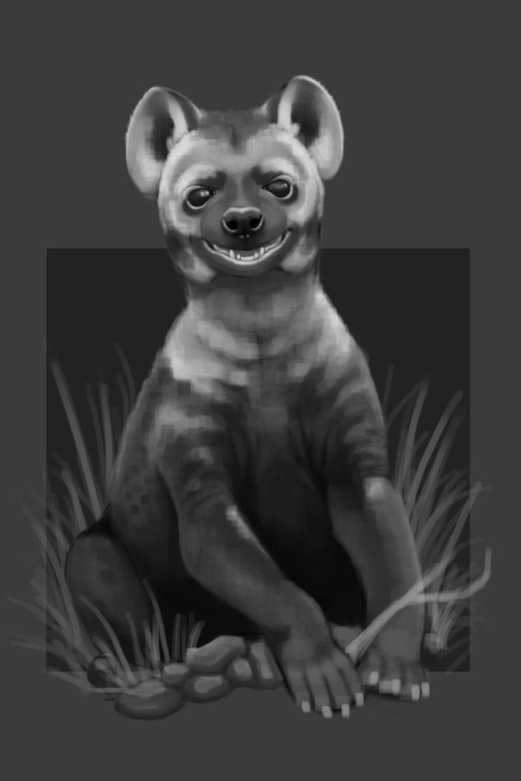 Hyena   Black and white version by OMLET-ik