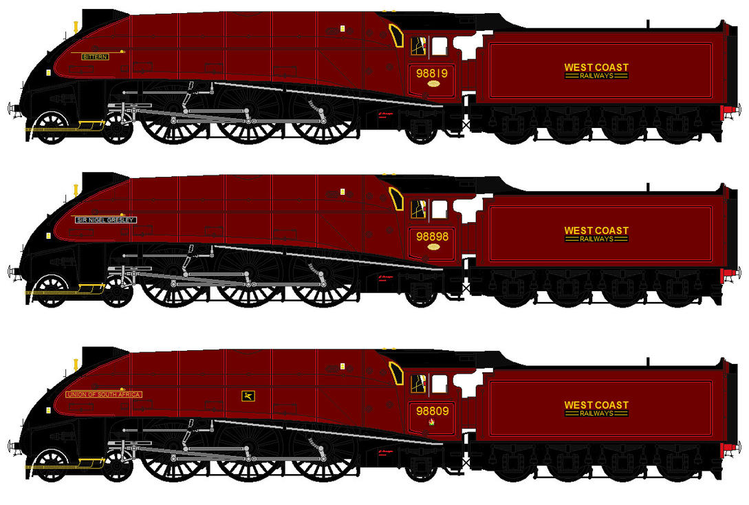 LNER A4 liveries - fictional West Coast by 2509-Silverlink ... Pacific Railway Company
